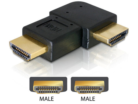 Delock Adapter HDMI male > HDMI male angled 90° leftwards Gender changer/Coupler - Optiwire.ie