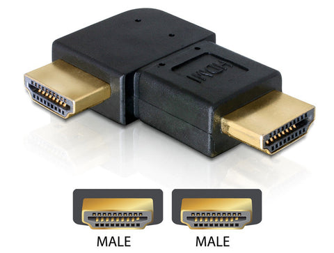 Delock Adapter HDMI male > HDMI male 90° rightwards / gender changer / coupler - Optiwire.ie