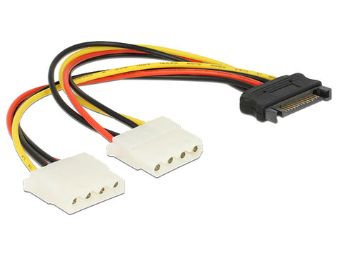 Delock Cable Power SATA 15pin > 2 x 4pin Molex female 20cm convert SATA to Molex - Optiwire.ie