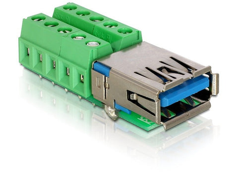 Delock Adapter USB 3.0-A female > Terminal Block 10pin Pitch 3.81mm - Optiwire.ie