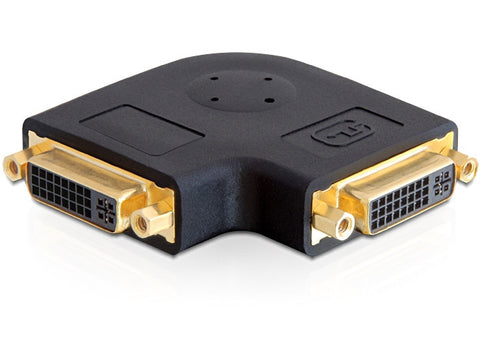 Delock Adapter DVI 24+5 female / female 90° angled  with screw nuts gold-plated - Optiwire