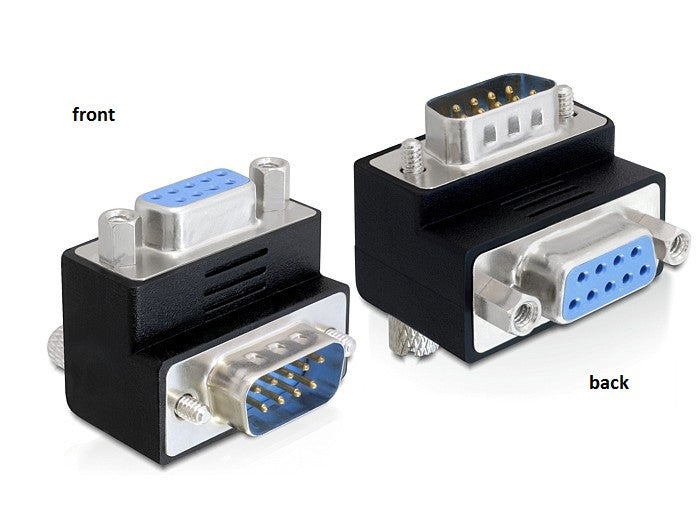 Delock Adapter Sub-D 9 pin male > female 90° angled for difficult to access port - Optiwire.ie