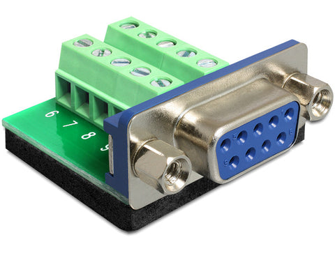 Delock Adapter Sub-D 9 pin female > Terminal block 10 pin Pitch 3.81 mm DB9 - Optiwire.ie