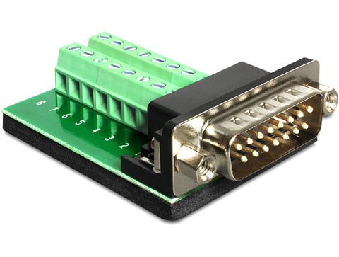 Delock Adapter Sub-D 15 pin Gameport male > Terminal block 16 pin Pitch 3.81 mm - Optiwire.ie