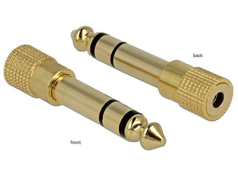 Delock Adapter Stereo plug 6.35 mm > Stereo jack 3.5 mm 3 pin metal gold-plated - Optiwire.ie