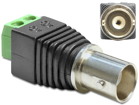 Delock Adapter BNC female > Terminal Block 2 pin Pitch 5.0mm Impedance 50 Ohm - Optiwire.ie