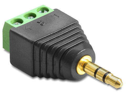 Delock Adapter Stereo plug 3.5 mm > Terminal Block 3 pin connect single wires - Optiwire.ie