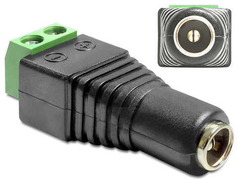 Delock Adapter DC 2.1 x 5.5 mm female > Terminal Block 2 pin pitch 5.0 mm - Optiwire.ie