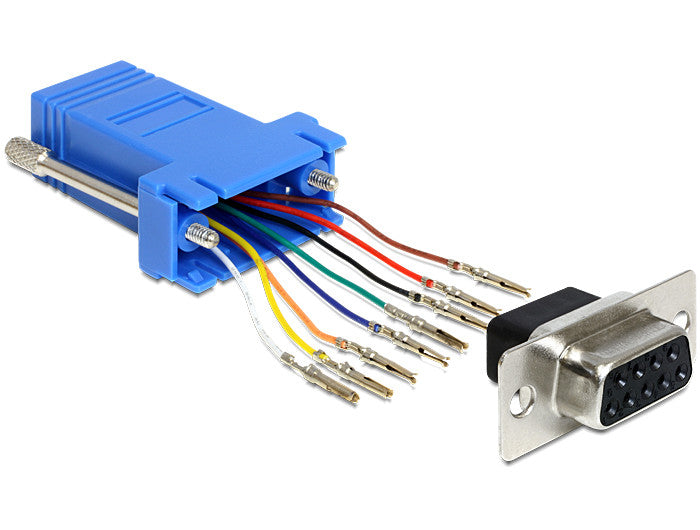 Delock Adapter Sub-D 9 Pin female with screws > RJ45 female assembly kit blue - Optiwire.ie