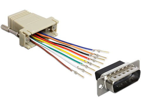 Delock Adapter Sub-D 15pin male > RJ45 female assembly kit/connect Serial>RJ-45 - Optiwire.ie