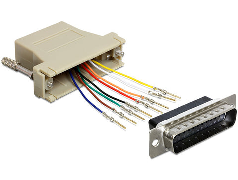 Delock Adapter Sub-D 25 Pin male > RJ45 female assembly kit/connect Serial>RJ-45 - Optiwire.ie