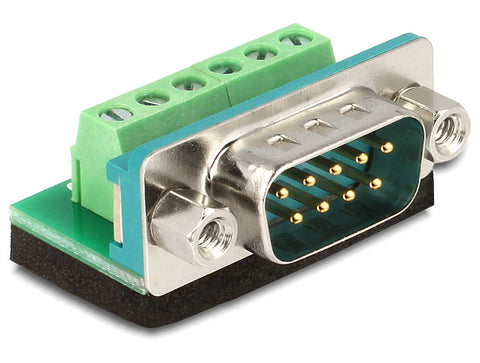 Delock Adapter Sub-D 9 pin male > Terminal block 6pin connector Pitch 3.81mm DE9 - Optiwire