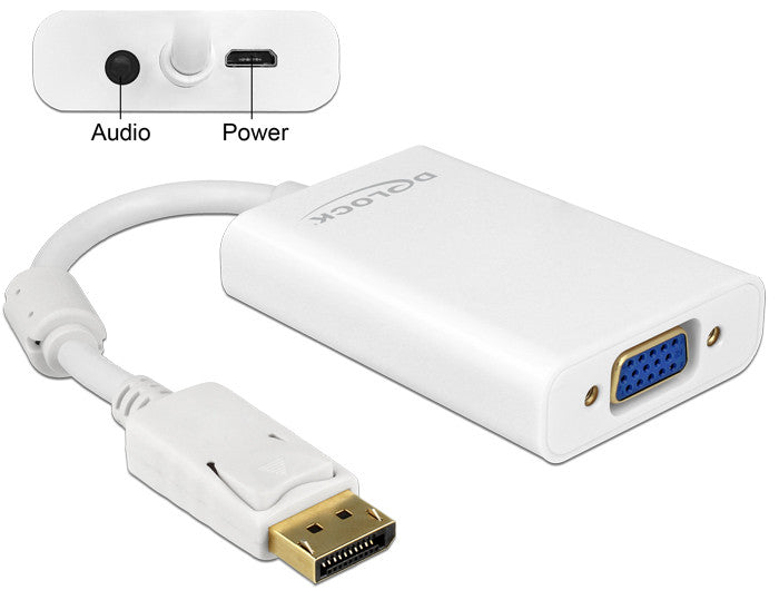 Delock Adapter Displayport 1.1 male > VGA female + Audio + Power white DP > VGA - Optiwire.ie