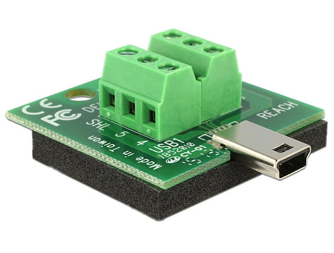 Delock Adapter Mini USB male > Terminal Block 6 Pin isolated antislip Pitch 3.81 - Optiwire.ie