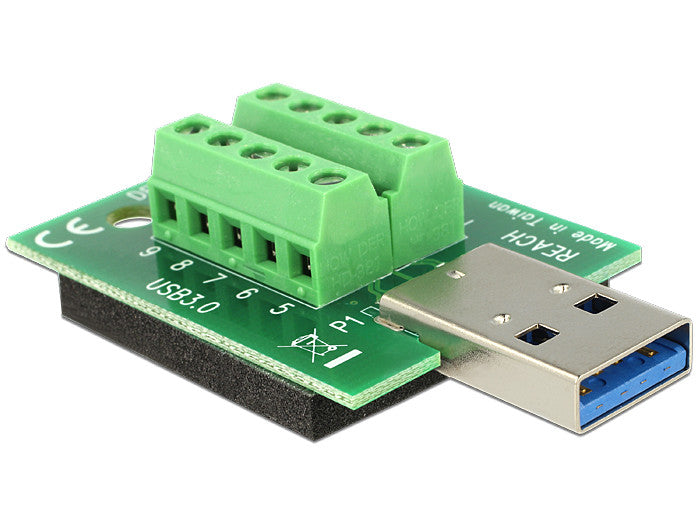 Delock Adapter USB 3.0-A male > Terminal Block 10 Pin isolated antislip pad - Optiwire.ie