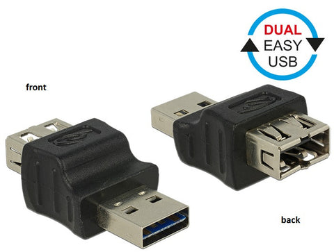 Delock Adapter dual EASY-USB2.0 Type-A male-female Reversible in both directions - Optiwire.ie