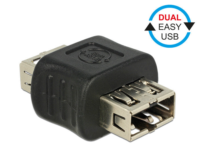 Delock Adapter Dual EASY-USB2.0 Type-A female > female reversible Gender changer - Optiwire.ie