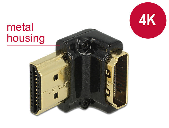 4K UltraHD Delock Adapter HighSpeed HDMI with Ethernet A female > male 90°angled - Optiwire.ie