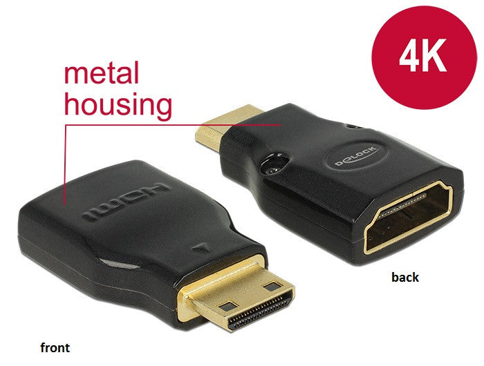 4K UltraHD Delock Adapter High Speed HDMI with Ethernet Mini-C male > A female - Optiwire.ie