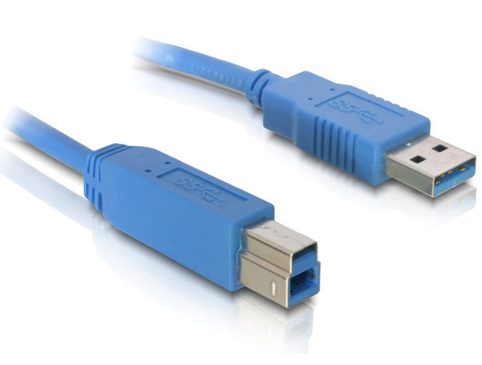Delock Cable USB 3.0 type A male > USB 3.0 type B male 1.8 m blue 5 Gb/s - Optiwire.ie