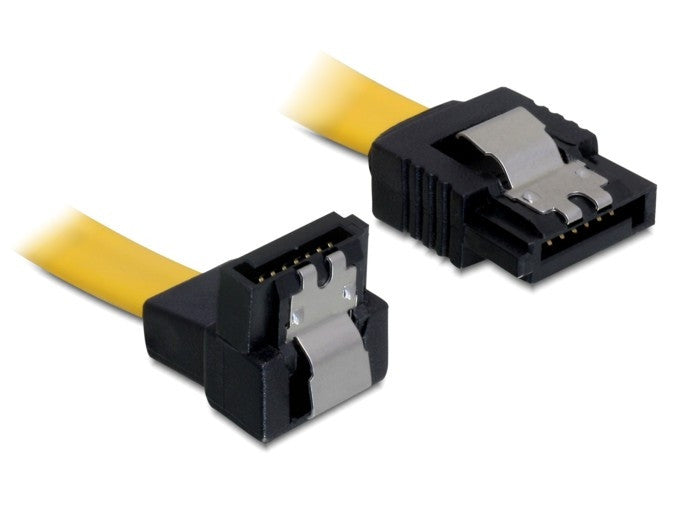 Delock Cable SATA 50 cm down/straight metal clips yellow SATA II up to 3 Gb/s - Optiwire.ie