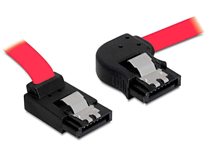 Delock Cable data SATA II 7 pin 100 cm angled right / up metal clips red 3 Gbps - Optiwire.ie