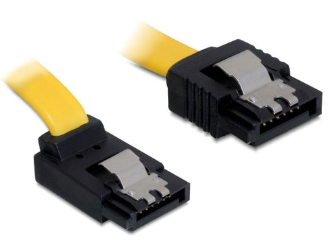 Delock Cable data 7p SATA 6 Gb/s male straight > SATA male up 30 cm yellow metal - Optiwire.ie
