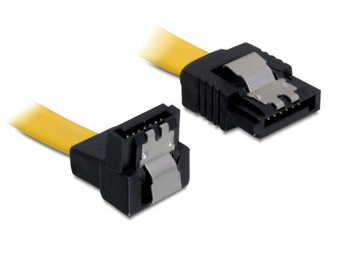 Delock Cable SATA 6 Gb/s male straight > SATA male down 50 cm yellow metal - Optiwire.ie
