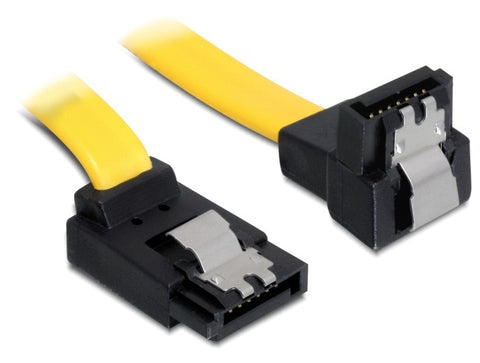 Ultrafast Delock Cable data 7pin SATA 6 Gb/s angled up / down metal clips 100 cm - Optiwire