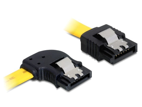 Delock Cable SATA data 7 pin 6 Gb/s angled left / straight metal clips 50 cm - Optiwire.ie