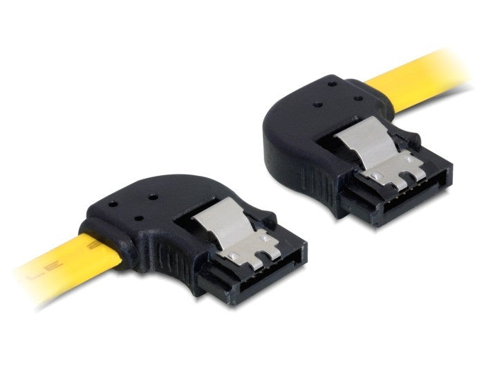 Ultrafast Delock Cable data SATA 7p 6 Gb/s angled left / right metal clips 100cm - Optiwire
