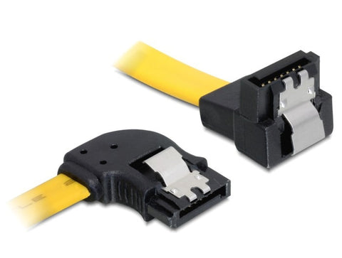 Ultrafast Delock data SATA 7pin 6 Gbps 100 cm cable angled left/down metal clips - Optiwire