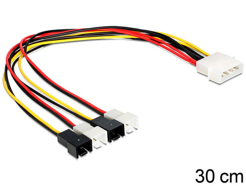 Delock Cable power Molex 4 pin male > 4 x 2 pin fan power up to 4 fans 30 cm - Optiwire.ie