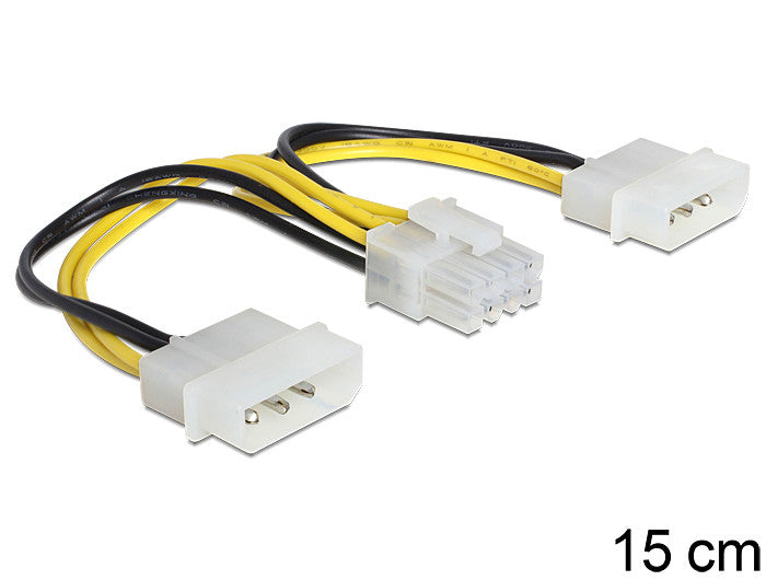 Delock Cable Power 8 pin EPS F > 2 x 4 pin Molex M extra power supply for MB - Optiwire.ie