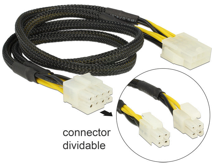 Delock Extension Cable Power 8 pin EPS male (2 x 4 pin) > 8 pin female 44 cm 12V