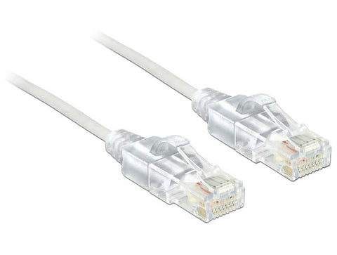 Delock Cable RJ45 Cat.6 UTP Slim 2 m 30 AWG white copper wire ideal for travel