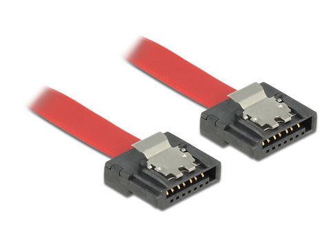 Delock data SATA III cable FLEXI 6Gb/s 100 cm red metal 28 AWG m-m with clips 7p - Optiwire.ie