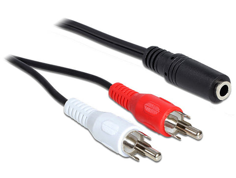 Cable 2 x RCA male > 3pin 3.5mm Stereo jack 1.40m convert 2 RCA > single 3.5mm F - Optiwire.ie