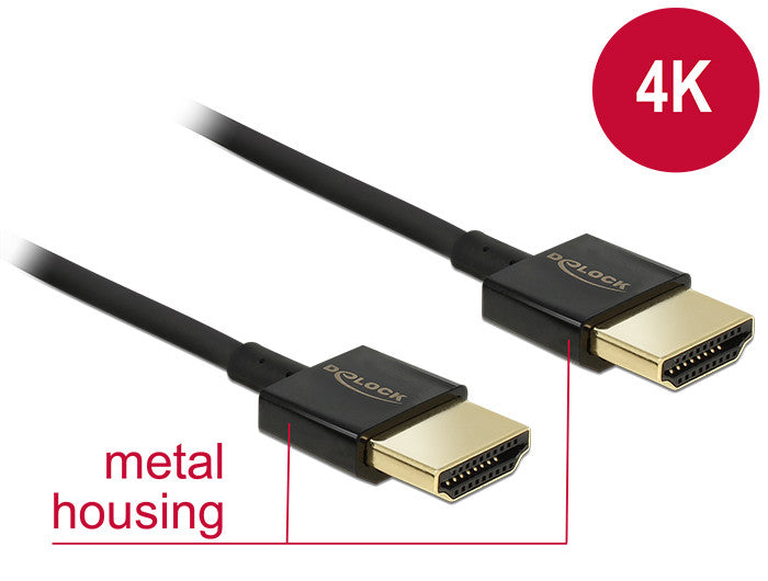 4K Premium Slim 3D Delock Cable Active HDMI with Ethernet A male > male 3 m ARC - Optiwire.ie