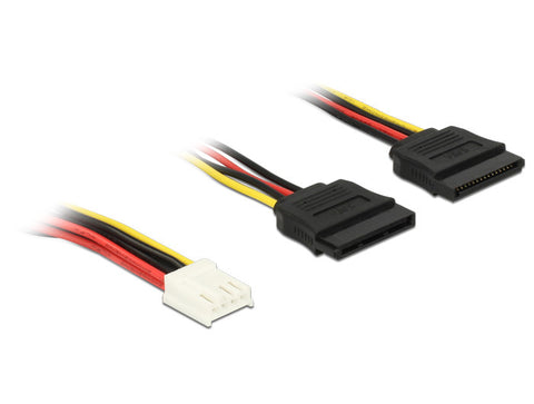 Delock 4 pin FDD Floppy to 2 x 15pin SATA receptacle Hard Drive Power Cable 30cm