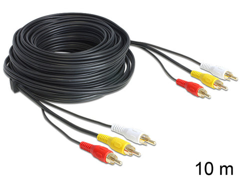 Delock Cable Audio / Video 3 x RCA male / male 10 m video + left and right audio - Optiwire - 1