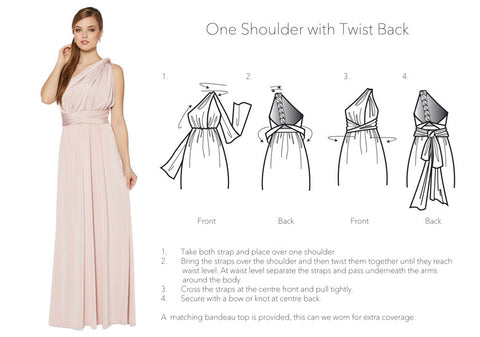 One shoulder with Tiwist Back infinity dress styles