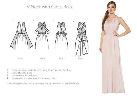 V neck with cross back infinity dress tutorial