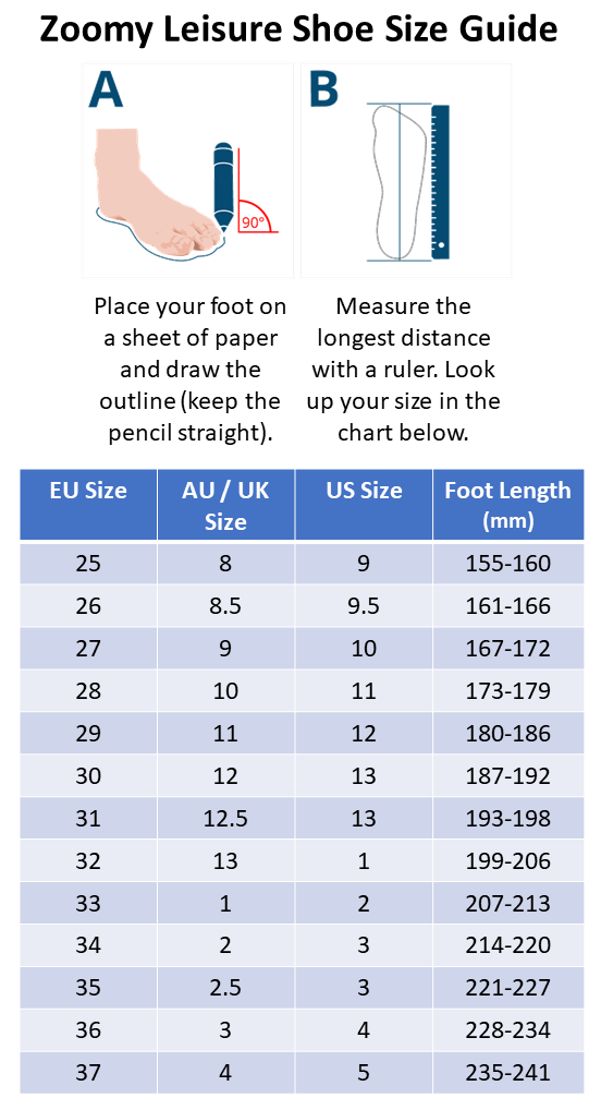 Zoomy Leisure Shoe Size Guide