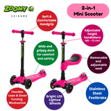 Kids 2-in-1 Mini Scooter with Removable Seat & Light Up Wheels Scooter Zoomy Leisure