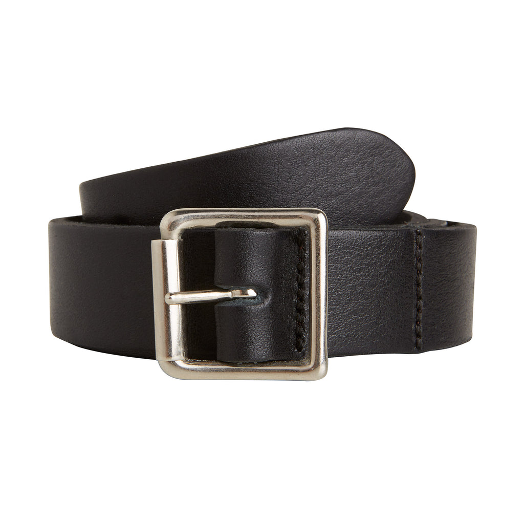 BLACK LEATHER BELT nickle BUCKLE MADE IN LONDON