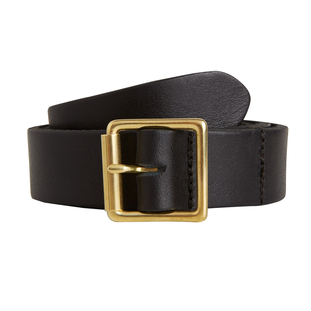 BLACK LEATHER BELT BRASS BUCKLE MADE IN LONDON