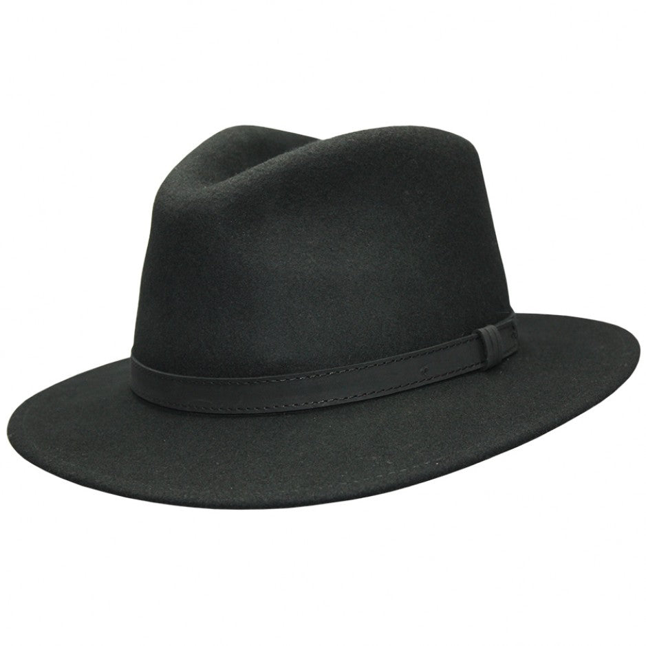 Wool Fedora in Pitch Black