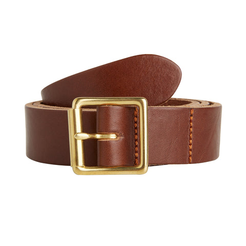 The Lead + Ball Saddlers Belt in Hickory Brown with a Solid Brass Buckle