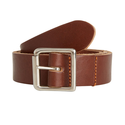 The Lead + Ball Saddlers Belt in Hickory Brown with Nickel Plated Brass Buckle